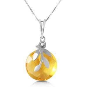 Galaxy Gold Products Jewelry - NECKLACE WITH CHECKERBOARD CUT CITRINE & DIAMOND